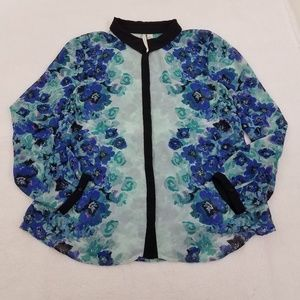 LC Lauren Conrad Top XL Blue Sheer Button Floral W
